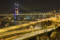 Freeway and bridge at night Stock Photo