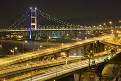 Freeway and bridge at night Stock Photo
