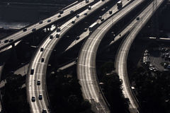 Freeway Bridges. Aerial view of santa monica freeway in los angeles Stock Photo