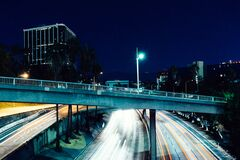 Freeway in city at night Royalty Free Stock Photography