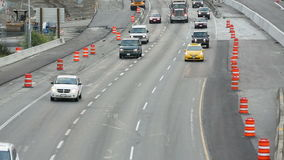 Freeway Construction Traffic stock footage