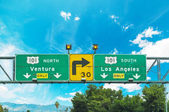 101 freeway crossroad sign in Los Angeles Stock Images