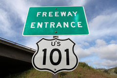 Freeway Entrance Sign US 101. Freeway entrance sign,  US 101 between Los Angeles and San Francisco, CA Stock Photos