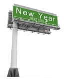 Freeway Exit Sign New Year. High resolution 3D render of freeway sign, next exit New Year Royalty Free Illustration