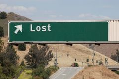 Freeway Exit Sign Says Lost Royalty Free Stock Image