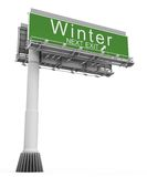 Freeway Exit Sign Winter. High resolution 3D render of freeway sign, next exit Winter Stock Illustration