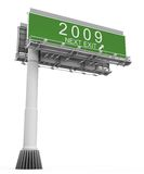 Freeway Exit Sign Year 2009. High resolution 3D render of freeway sign, next exit 2009 stock illustration