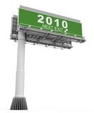 Freeway Exit Sign Year 2010. High resolution 3D render of freeway sign, next exit 2010 Royalty Free Stock Photos