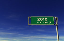 Freeway Exit Sign Year 2010. Super high resolution 3D render of freeway sign, next exit... 2010 Stock Image