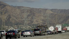 Freeway full of cars stock footage