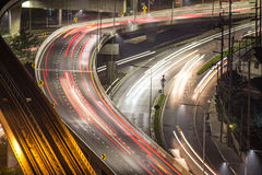 Freeway with heavy traffic at night.  People travelling out on f Stock Photography