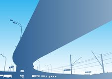 Freeway Interchange. On the blue sky, Moscow Stock Photo
