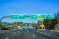 Freeway Interchange sign. In east San Francisco bay, California stock images