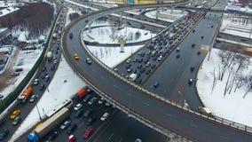 Freeway interchange. Top down aerial view of traffic on huge overpass.