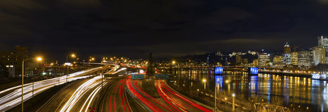 Freeway Light Trails Downtown Portland Oregon Stock Images