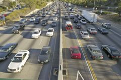 405 freeway near Sunset Blvd. at rush hour, Los Angeles, California Royalty Free Stock Photography