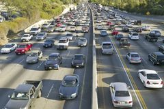 405 freeway near Sunset Blvd. at rush hour, Los Angeles, California Stock Images