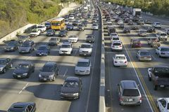 405 freeway near Sunset Blvd. at rush hour, Los Angeles, California Stock Photo