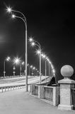 Freeway at night. Black and white. Royalty Free Stock Images