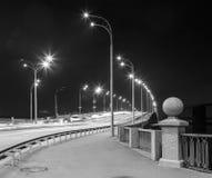 Freeway at night. Black and white. Stock Photo