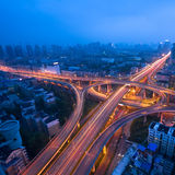 Freeway in night with cars light Stock Photos