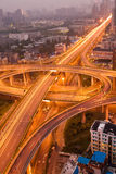 Freeway in night with cars light Stock Images