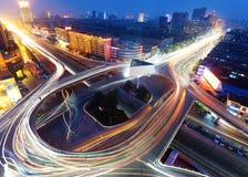 Modern urban viaduct at night Stock Photo