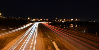 Freeway at Night. Deerfoot Trail Freeway in Calgary at Night. Showing Light Streams from traffic Stock Photography