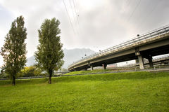 Freeway overpass. With the release seen from below Royalty Free Stock Photo