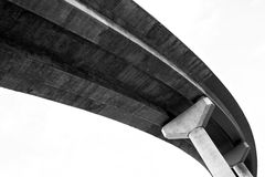 Freeway overpass. Elevated roadway, view from below Stock Photos