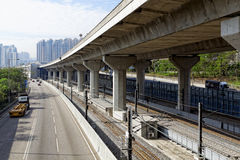 Freeway Overpasses and Train Tracks. At day Royalty Free Stock Photography