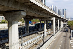 Freeway Overpasses and Train Tracks. At day Royalty Free Stock Photos