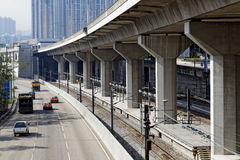 Freeway Overpasses and Train Tracks. At day Royalty Free Stock Photo