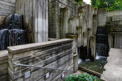 Freeway Park in Seattle. The Freeway Park is an oasis of serenity in the middle of the concrete jungle at 700 Seneca Street. The linear, fortress-like design of Stock Photography