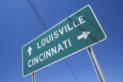 Freeway road sign to Louisville and Cincinnati Royalty Free Stock Photo