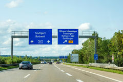 Freeway road signs on Autobahn A81 showing exit to Villingen-Schwenningen. Motoway road signs on Autobahn 81 / A 81 / E 531 direction Stuttgart / Rottweil - exit royalty free stock image