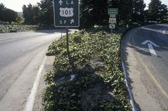 A 101 Freeway sign in California Stock Images