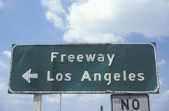 A freeway sign in Los Angeles Stock Photos