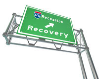 Freeway Sign - Recession Next Exit Recovery Royalty Free Stock Photo