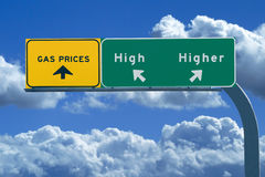 Freeway Sign Relating to Higher Gas Prices. Freeway sign on blue cloudy skies reading, Gas prices - high and higher Stock Image