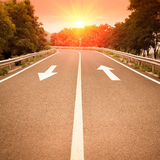 Freeway with sunset Stock Image