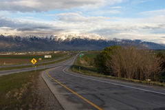 Freeway at sunset. Freeway in Utah at sunset. Tremonton area stock image