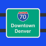 Freeway to Denver sign Stock Images