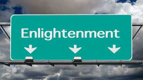 Freeway to Enlightenment. Freeway road sign to enlightenment with time lapse clouds stock video footage