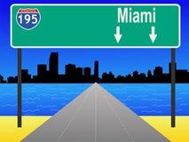 Freeway to Miami. Miami Skyline and interstate 195 illustration Stock Photography