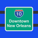 Freeway to New Orleans sign Royalty Free Stock Photo