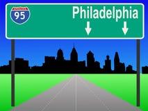 Freeway to Philadelphia. Philadelphia Pennsylvania skyline and interstate 95 Royalty Free Stock Photo