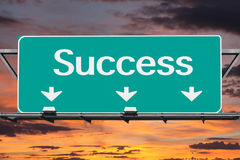 Freeway to Success Road Sign Stock Images