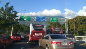 Freeway to west Caracas the commercial zone Venezuela. A freeway with road traffic signs in Chacao Venezuela South America royalty free stock photo