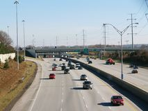 Freeway traffic. Looking down on the westbound lanes of I-480 in Cleveland, Ohio stock photos